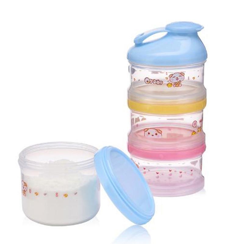 Portable Milk Powder Formula Dispenser Food Container Storage Feeding Boxes for Baby Kids Toddler 4 Grid Baby Food Storage Box