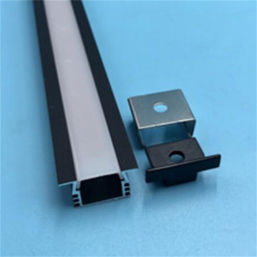 YANGMIN Free Shipping  2M/PCS silver or black coated aluminium LED strip U channel - profile track recessed mounting