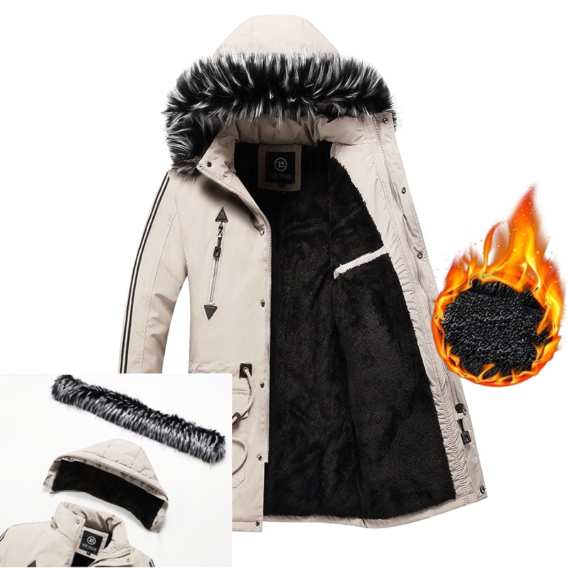 Long Jacket Coat Thick Warm Winter Jacket Men Fleece Lined Hooded Parka Jacket Mens Fur Collar Coat