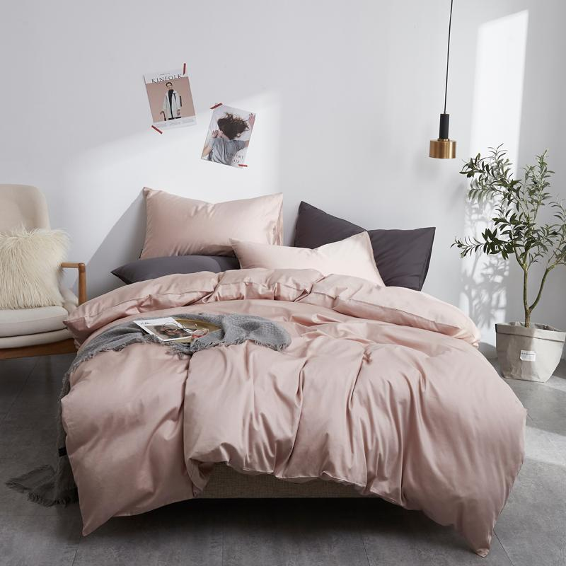 Egypt Cotton solid color Bedding set Silky Pure Duvet Cover set Single product bedsheet Pillowcases Twin Queen King Size