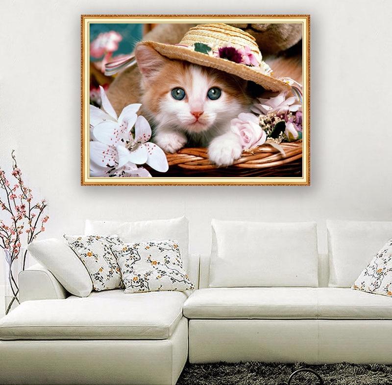 Hermosa flor de gato completo cuadrado/piedras redondas bordado animal diamante 5D diamante pintura de punto de cruz diamante mosaico Diamont