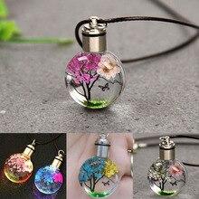Neue Licht Getrocknete Blume Schmetterling Glas Ball Frauen Halskette Anhänger Seil Kette Halskette für Frauen Streifen Leder Halsband
