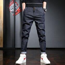 Casual homens grandes tamanhos harem calças moda azul escuro corredores streetwear hip hop solto cordão calças
