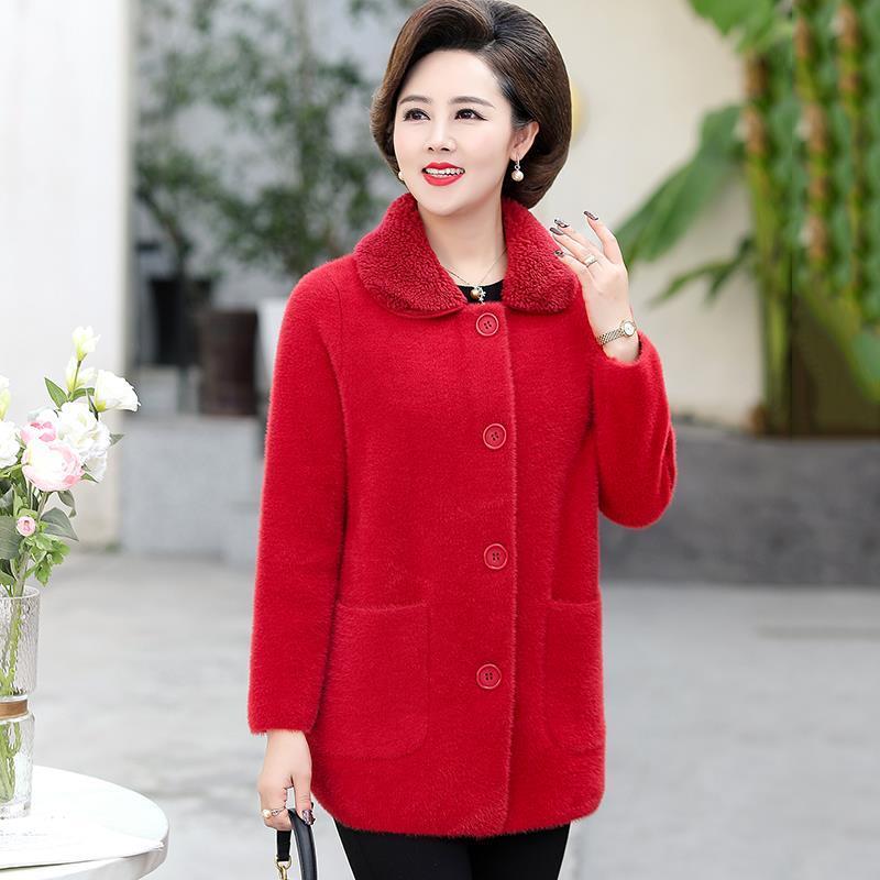 جديد خريف وشتاء 2021 معطف من الصوف للنساء معطف نسائي مخملي من المينك متوسط العمر معطف مناسب للسيدات بمقاسات كبيرة