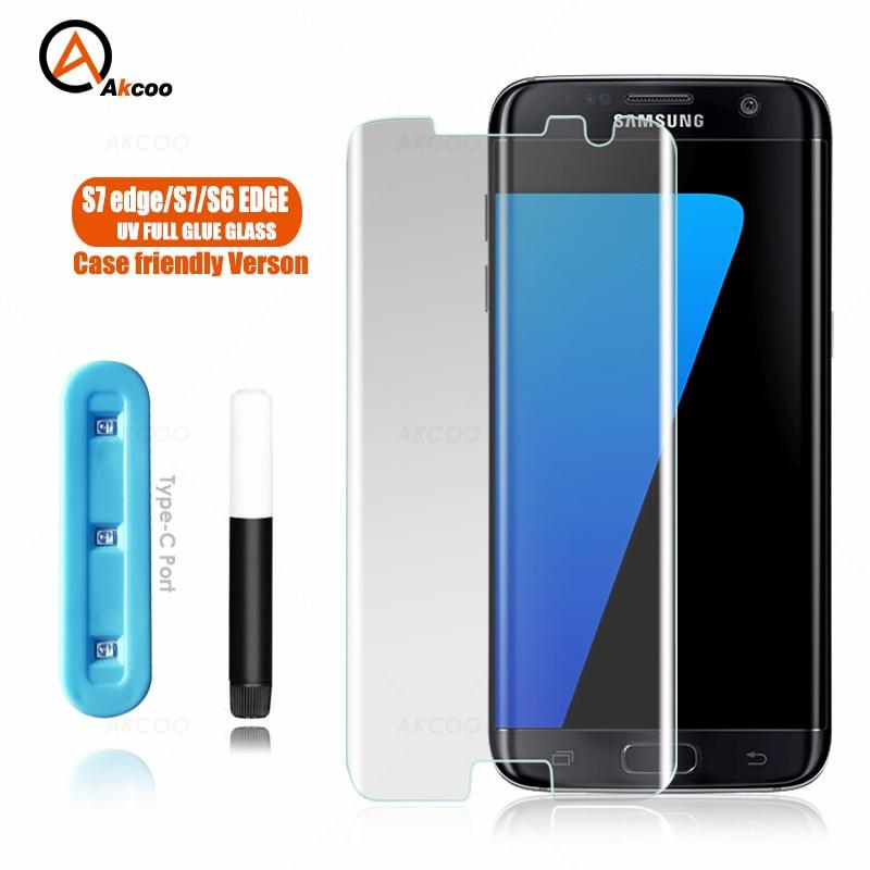 Akcoo S7 edge Screen Protector Case friendly UV Glass full glue for Samsung S6 edge Plus tempered gl