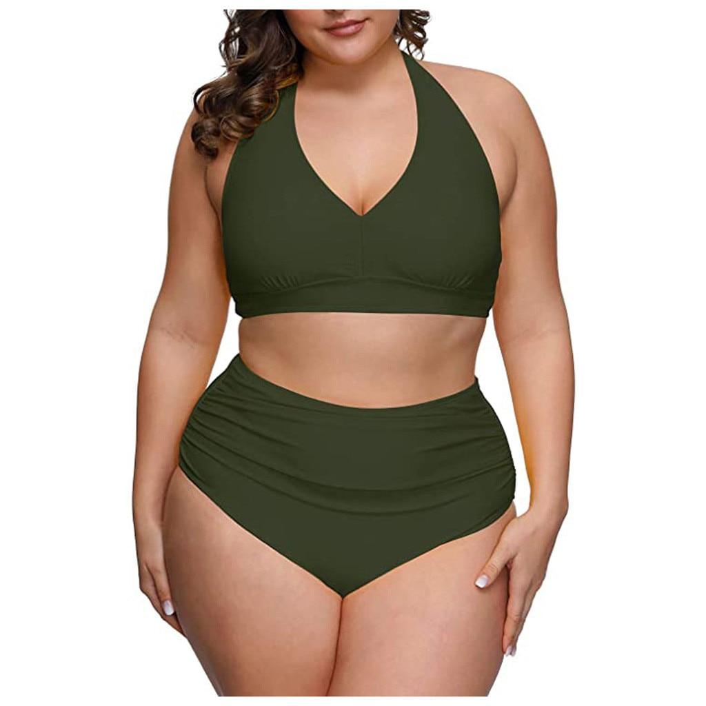 2020 feste Farbe Plus Größe Bikini Set Frauen Hohe Taille Badeanzug 4xl Fett Feminine Große Bh Zwei Stück Bikini Push up Strand Tragen # G30