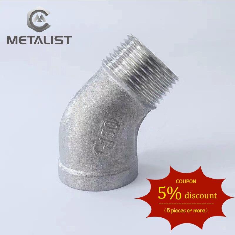 "Metal BSP 1/2 ""DN15 hembra * 1/2"" DN15 rosca macho codo 45 grados SUS304 conector de conexión de tubería/adaptador para agua aceite aire"
