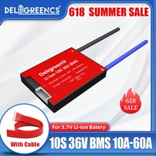 Deligreen 10S 36V 20A 30A 40A 50A 60A PCM/PCB/BMS для литиевых аккумуляторов 3,7 V 18650 Lithion LiNCM литий полимерный скутер