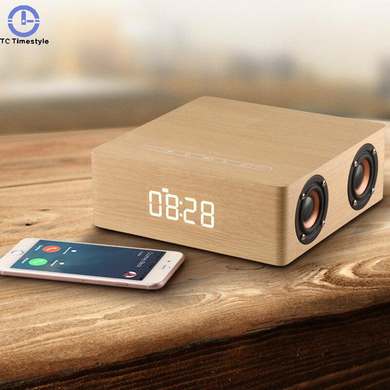 Reloj despertador de madera Altavoz Bluetooth relojes táctiles soporte de graves Subwoofer Tf altavoces inalámbricos estéreo reproductor de música Sonido Envolvente