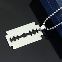 dongsheng fashion silver color stainless steel razor blades pendant necklaces men jewelry steel male shaver shape necklace 30