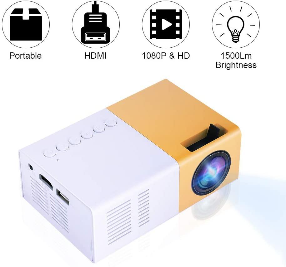 Mini projecteurs vidéo, Portable 1080P projecteur LED intérieur/extérieur projecteurs de film Support ordinateur Portable Smartphone HDMI