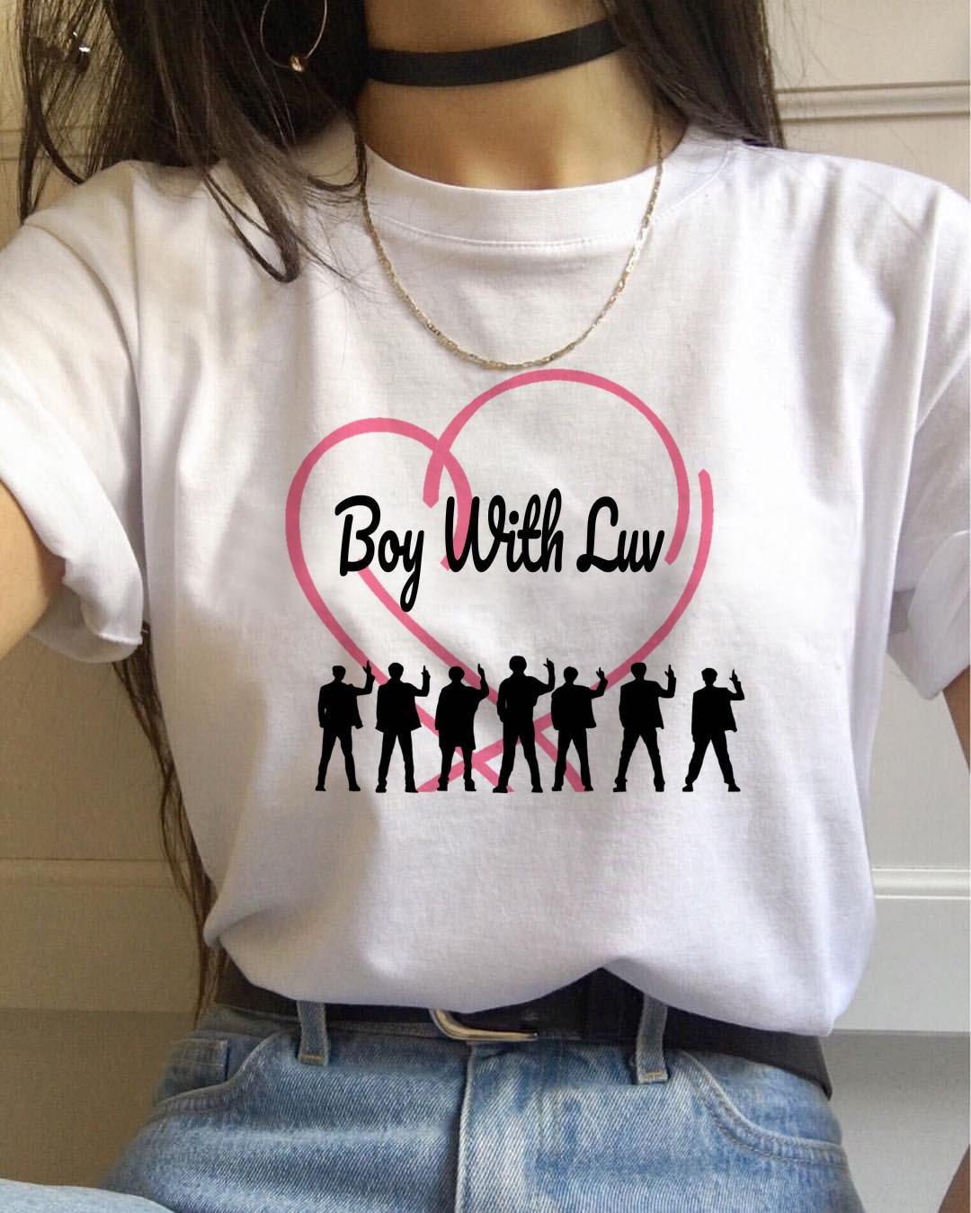 Футболка для женщин, черная футболка с надписью K-pop