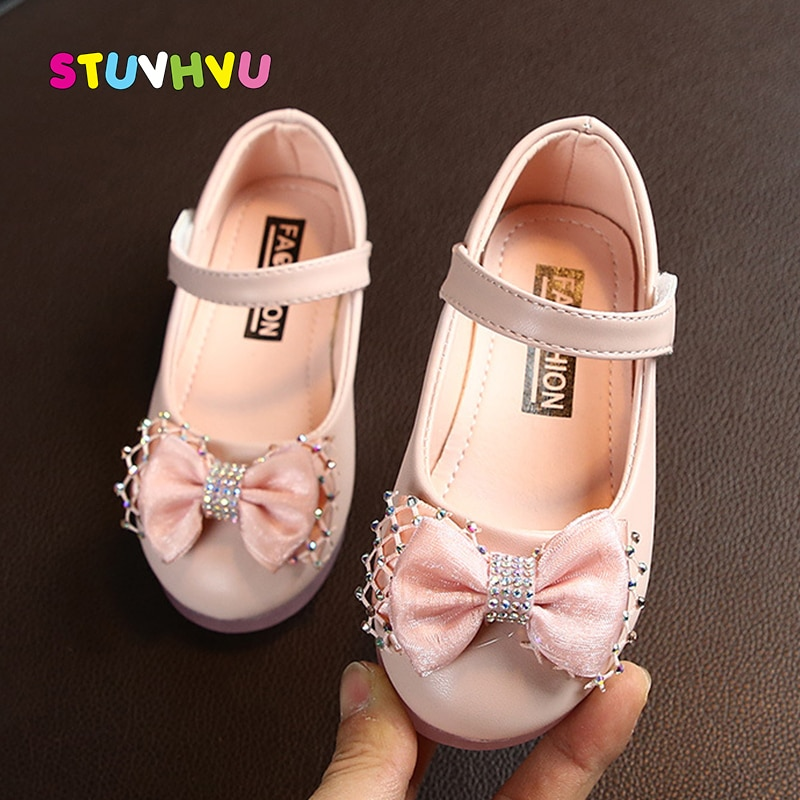 2021 New Leather Children Shoes for Girl Rhinestone Bow Princess Shoes Soft Bottom Non-slip Toddler Girls Kids Shoes Size 22-31 afdswg pu kids shoes girls fashion soft bottom princess shoes new bow leather shoes childrens shoes little girl shoes