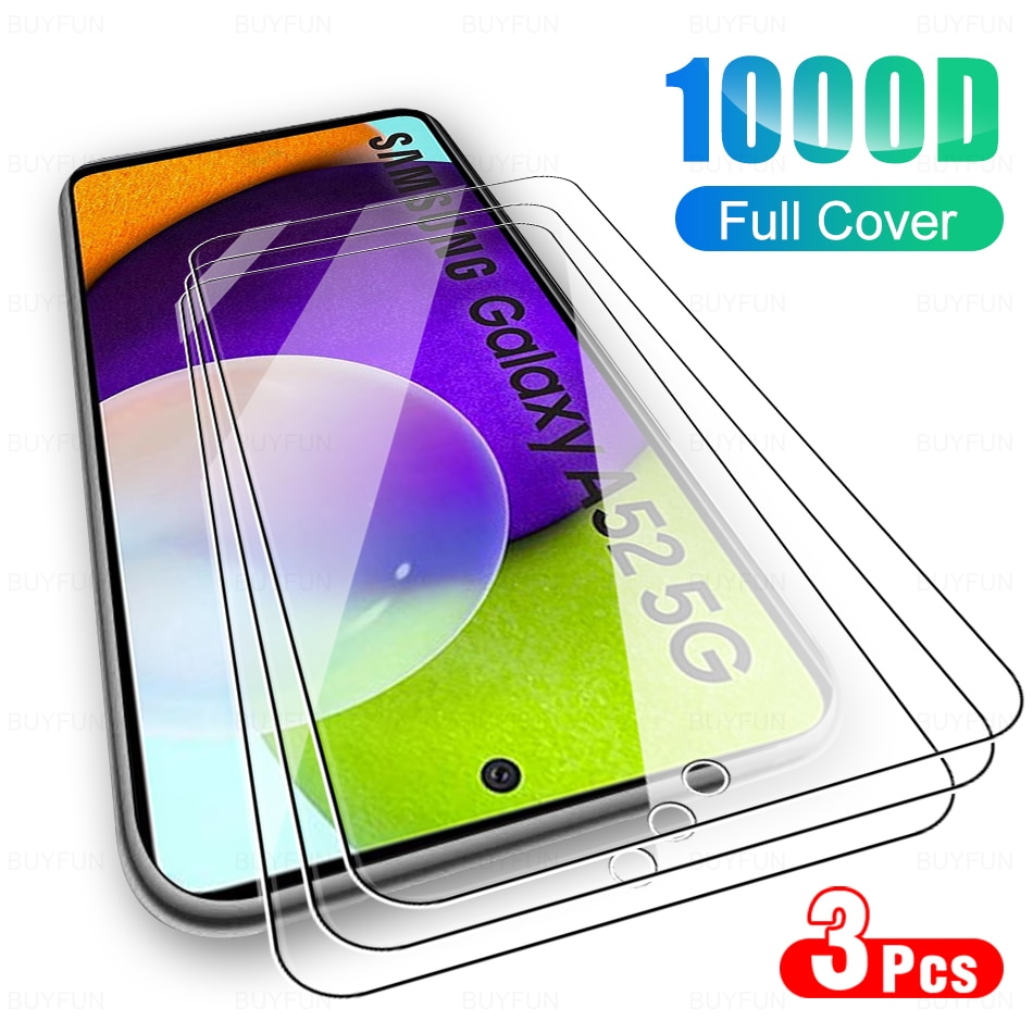 3Pcs Protective Glas For Samsung Galaxy A52 5G Glass Full Screen Protector For Samsung A12 A32 A 52 A72 5G Phone Protection Film