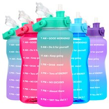 Quifit Gallon Water Bottle 3.8 & 2 Litre Large Capacity Tritan BPA Free Outdoor Motivational with Ti