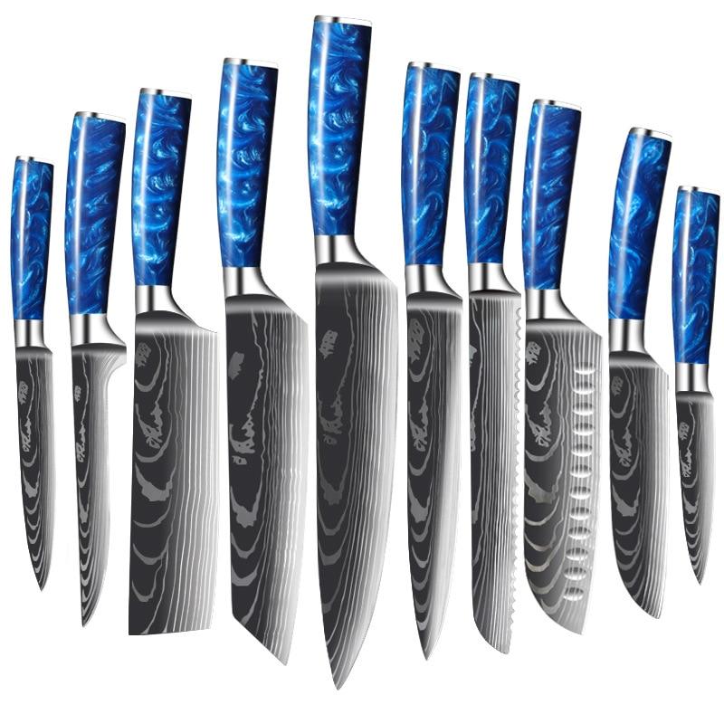 Дамасский нож, поварские ножи, японский нож сантоку 7Cr17mov из высокоуглеродистой нержавеющей стали, нож для приготовления овощей и мяса