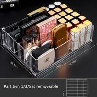clear various compartments makeup organizer cosmetic make up tool storage box brush holder blush lipsticks organiser drawer case