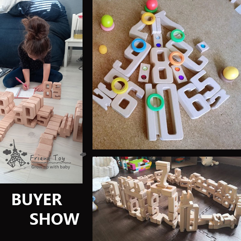 Number Building Blocks Wooden Math Digital Toys Baby Balance Block Jenga Toy Montessori Educational Natural Wood Toys for Kids