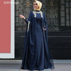 Dubai Arabic Saudi Arabian New Arrival O Neck Appliques Evening Dresses Navy Blue Vintage East Muslim Party Sleeves Prom Dress