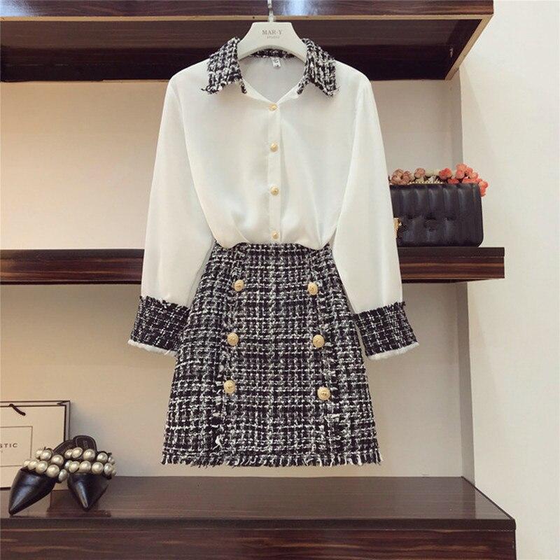 Высококачественный Элегантный женский комплект из 2 предметов, Женская твидовая шифоновая рубашка с кисточками, топ + двубортная шерстяная мини-юбка-карандаш, костюм