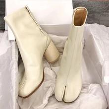 Tabi Split-toe Women Boots cream-colored Leather Buckle Chunky Block Heels Booties Botas Feminina Shoes Woman