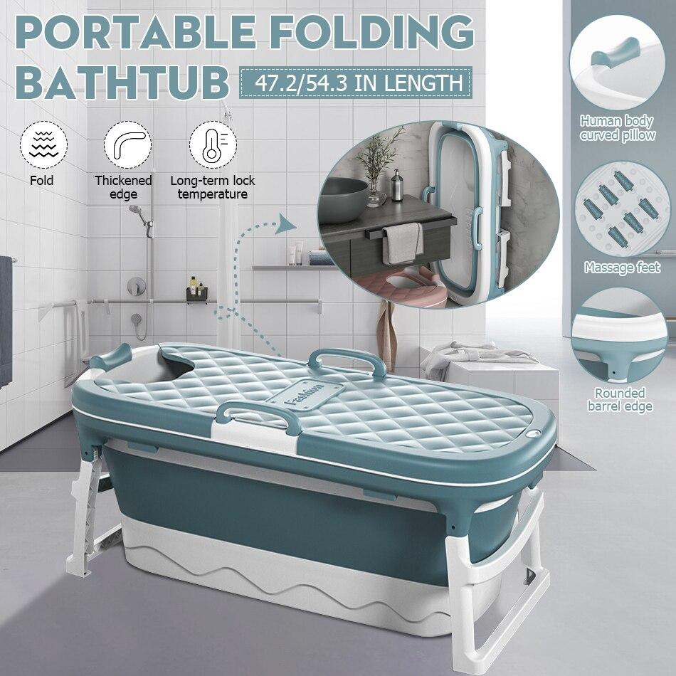 1.38/115cm Portable Bathtub With Cover Folding Bath Bucket Foldable Large Adult Child Tub Swimming Pool Bathroom SPA Sauna ES/US