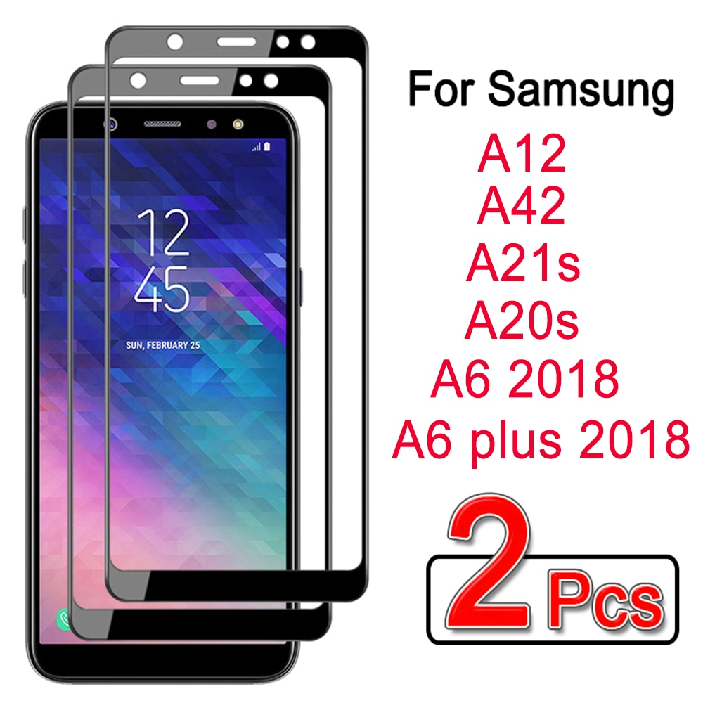 2pcs tempered glass for samsung galaxy a6 plus 2018 screen protector for samsung a6 2018 A12 A42 A21s A20s protectiveglass