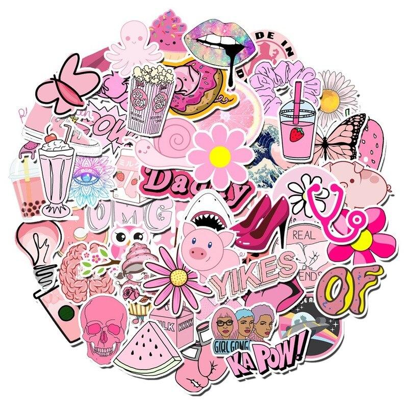 100 шт. милые Мультяшные Розовые наклейки в стиле INS Vsco Girl, наклейки для ноутбука, скейтборда, гитары, чемодана, холодильника, «сделай сам», игр...