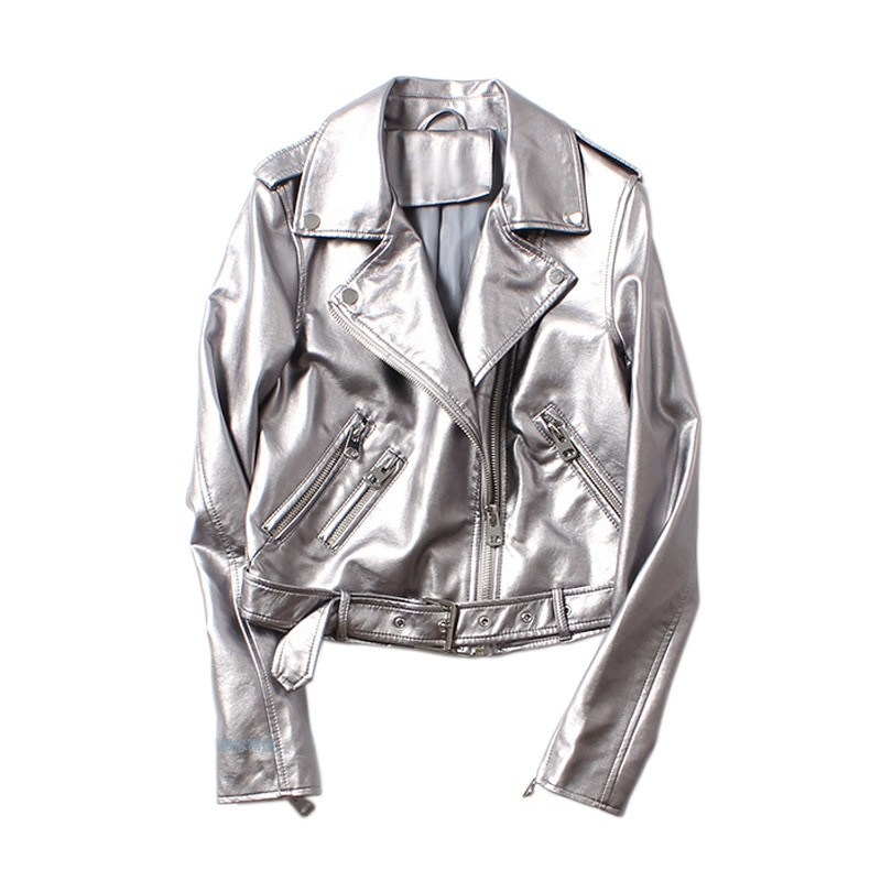 2021 Spring  Autumn New European High Street Silver Women's PU Washing Locomotive Leather Belt Jacket Vinatge Coat with Pockets enlarge