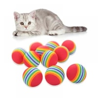 rainbow ball cat toy mute pet toy color ball interactive pet cat scratching the natural foam eva ball training pet products