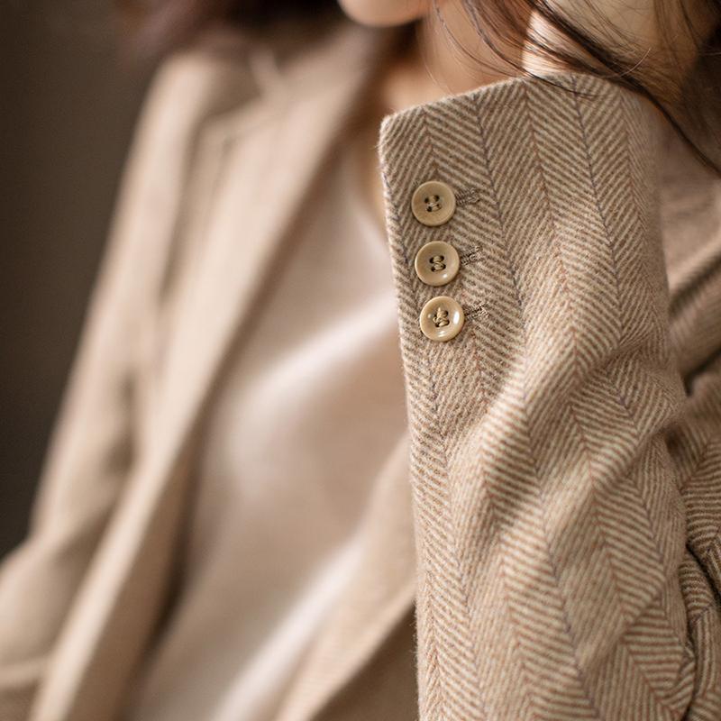 بدلة صوفية نسائية ، جاكيت خريفي ، زر واحد ، نمط متعرج ، معطف على الطراز البريطاني ، نمط ركاب
