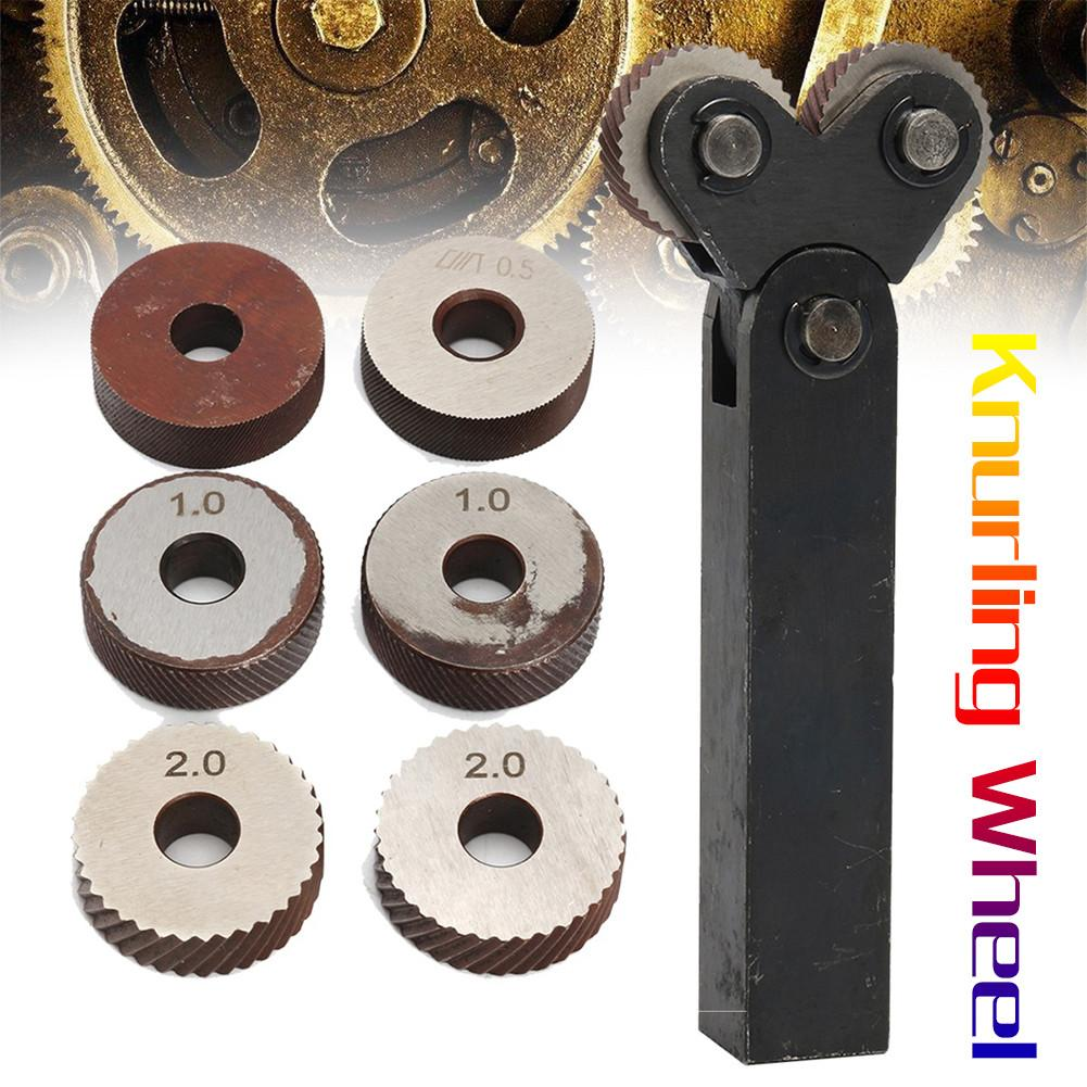 7 pces de aço duplo roda serrilhamento conjunto de ferramentas com diagonal linear knurl roda 0.5/1/2mm passo linear knurl conjunto torno cortador