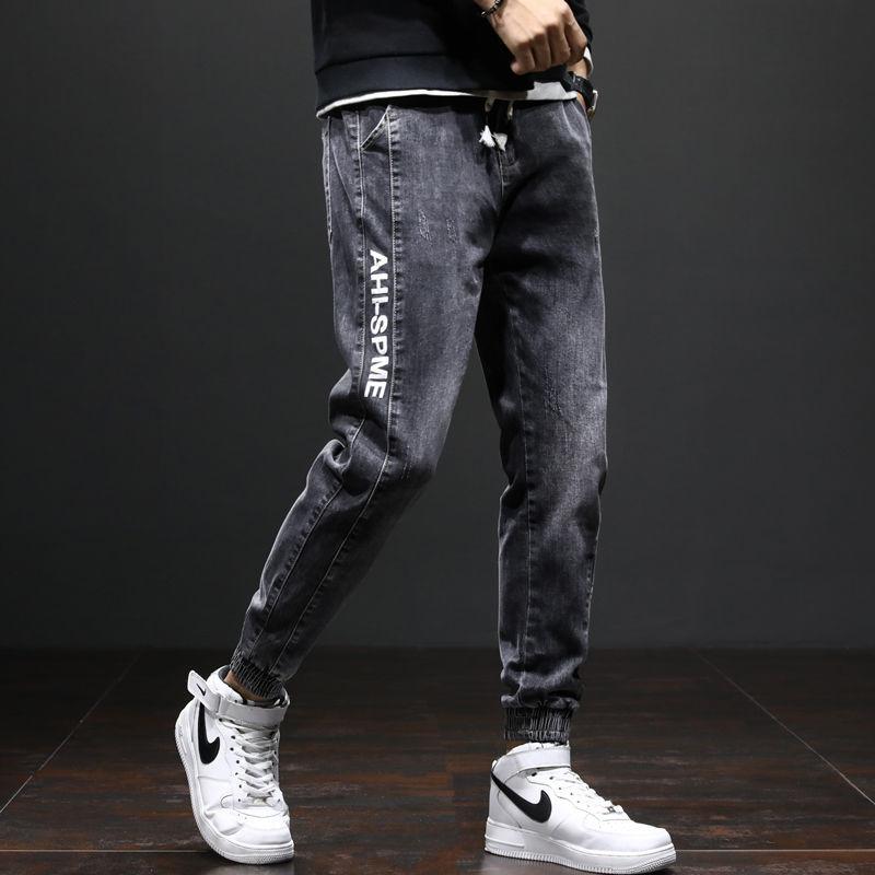 С эластичной резинкой на талии, джинсы в стиле пэчворк мужские прямые джинсы в Корейском стиле; Модная одежда с принтом в виде надписи Свобо...
