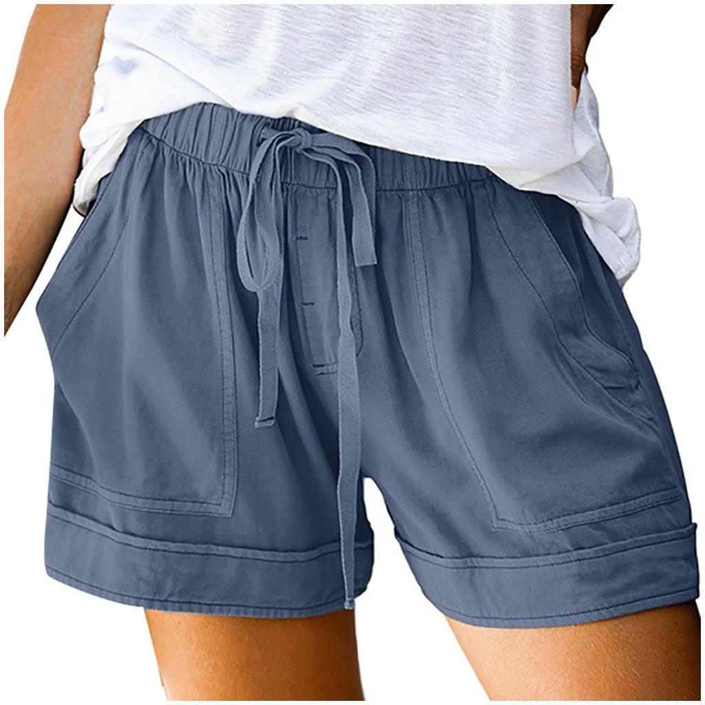 Pantalones cortos con cordón para mujer, shorts femeninos cómodos, informales, con empalme...