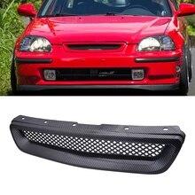 AL21-Auto Carbon Faser Mesh ABS Front Hood Grille Grill für 96-98 Honda Civic EJ/EK JDM Typ R
