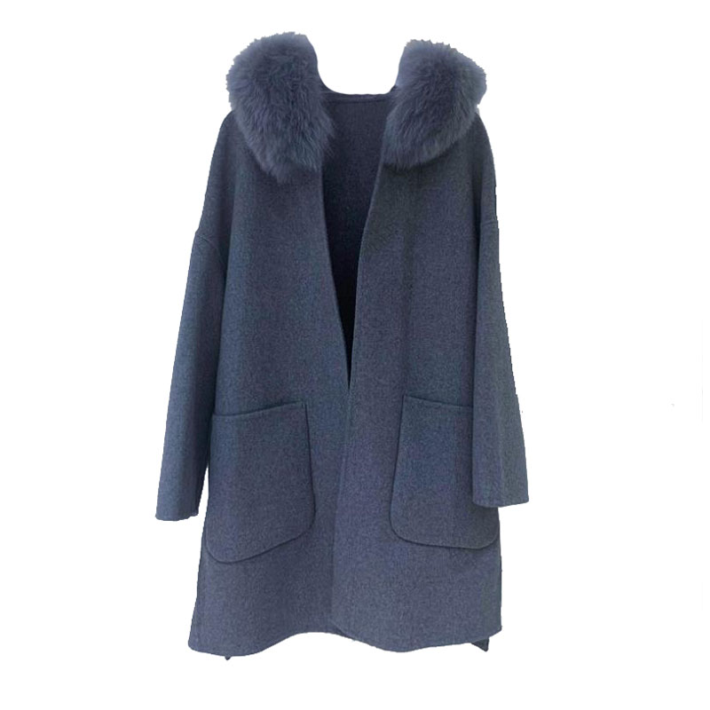 Double Side Wool Blends Women Fox Fur Collar Hooded Loose Elegant Chic Drop Shoulder Winter Coat Jackets Female Long Parka snap button hooded drop shoulder wool blend coat