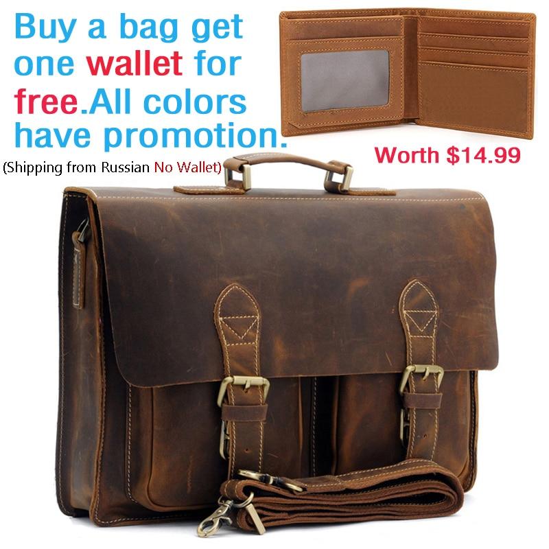 Men's Vintage Genuine Crazy Horse Leather Briefcase Messenger Shoulder Portfolio Laptop Bag Case Handbag Father's Day Gift 1061
