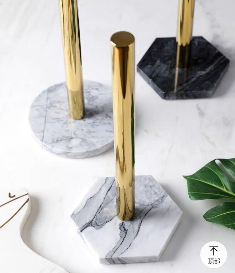 المطبخ الأنسجة رف الرخام الطبيعي منشفة ورقية مطلية بالذهب حامل لفة الرف