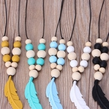 Baby Infant Silicone Feather Jewelry Teething Necklace Baby Nursing Chewing Toys 19QF