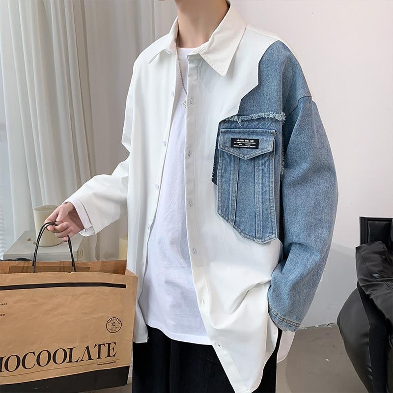 printio блокнот men s style Men 's new denim stitching shirt spring Korean style men 's plus size shirt M -5XL street fashion shirt