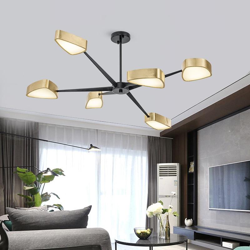 الحديثة LED الثريات ل غرف الطعام أسود اللون الذهبي اللون الشمال الاكريليك مثلث الظل أضواء الثريا تناول الطعام مصباح