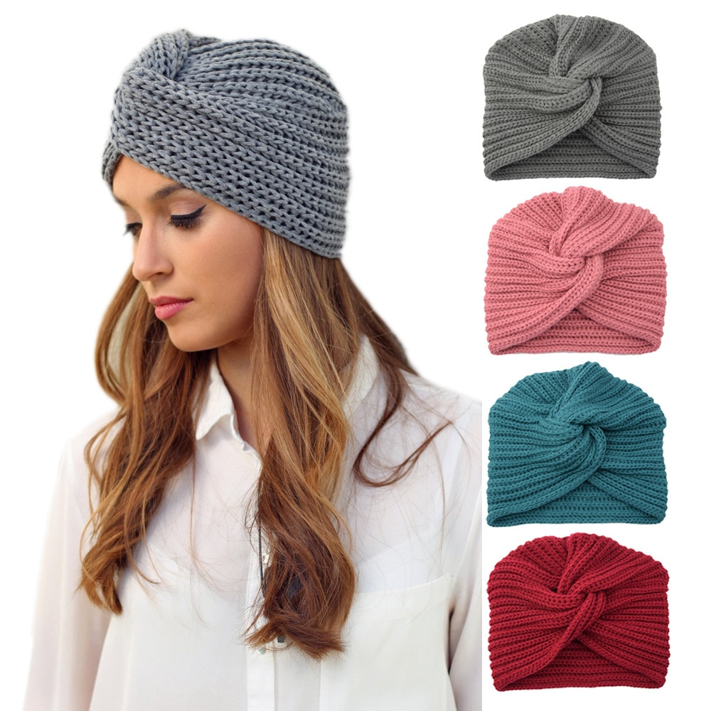Winter Soft Knitted Knot Cross Hat for Women Fashion Warmer Handmade Woven Turban Solid Color Cap Hair Accessories Girls Gifts