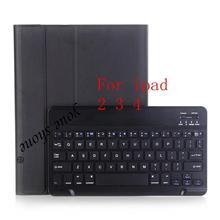 Housse en cuir Litchi haute qualité pour Apple iPad 2/3/4 A1460 A1459 A1458 A1416 étui pour tablette clavier Bluetooth + stylet.