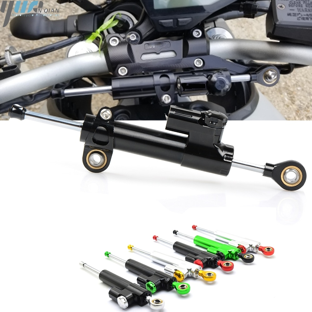 Estabilizador de amortiguador de dirección ajustable de aluminio Universal para motocicleta Yamaha FZ6R FZ1 FZ 09 FZR400 FZR500 FJ600 YZF R1 XSR900