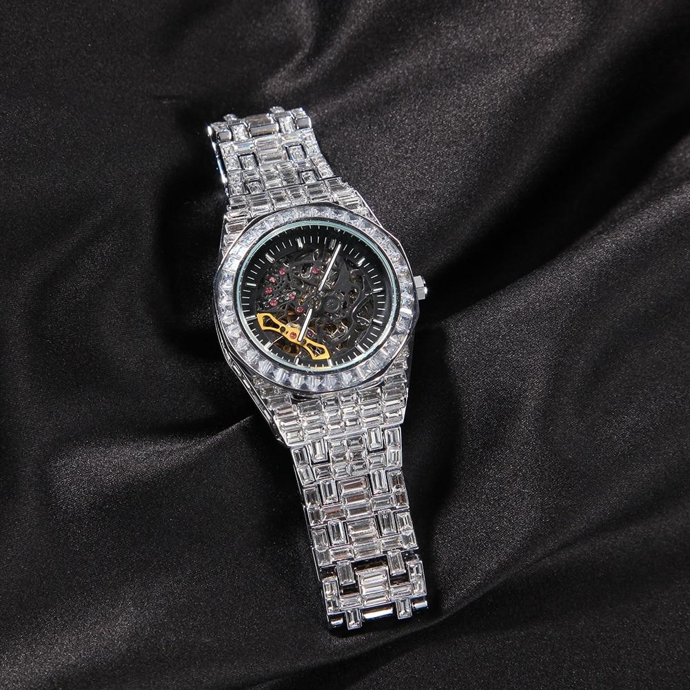 TBTK Minimalist Diamond Waterproof Stainless Steel Mechanical Iced Out Watch Men Classic Design For Men enlarge