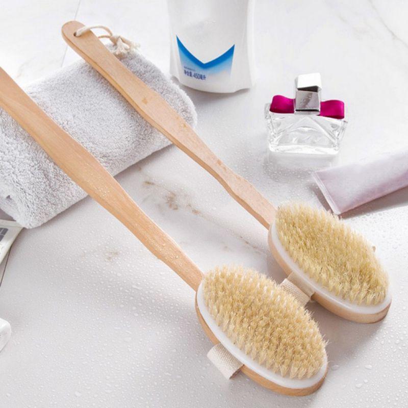 Baño largo y cerdas de baño Piel de jabalí para cepillo con cuerpo de madera seco cepillado mango ducha exfoliante limpieza