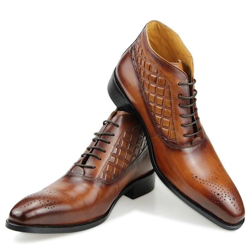 الرجال حذاء من الجلد جلد طبيعي أسود براون الفاخرة العمل الشتاء عالية الكعب الذكور الرسمي الأعمال فستان الزفاف الدانتيل متابعة أحذية رجالي