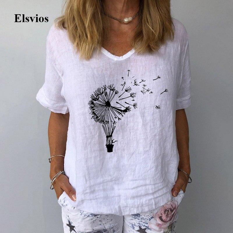 Casual estampado Floral algodón Lino Blusa camisa mujeres verano cuello pico pulóver Tops 2020 elegante manga corta de talla grande camisas Blusa