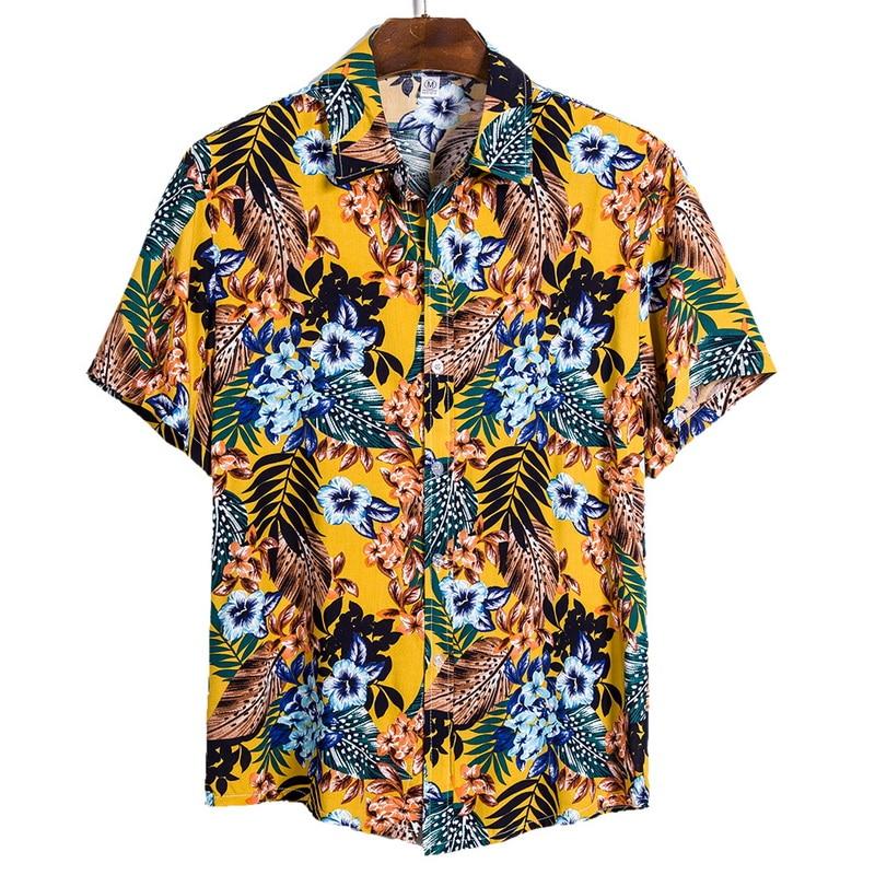 DIHOPE 2020 Quality Harajuku Beach Shirt Men Short Sleeve Hawaiian Shirt Casual Summer Floral Print Men Blouse Loose Surfing