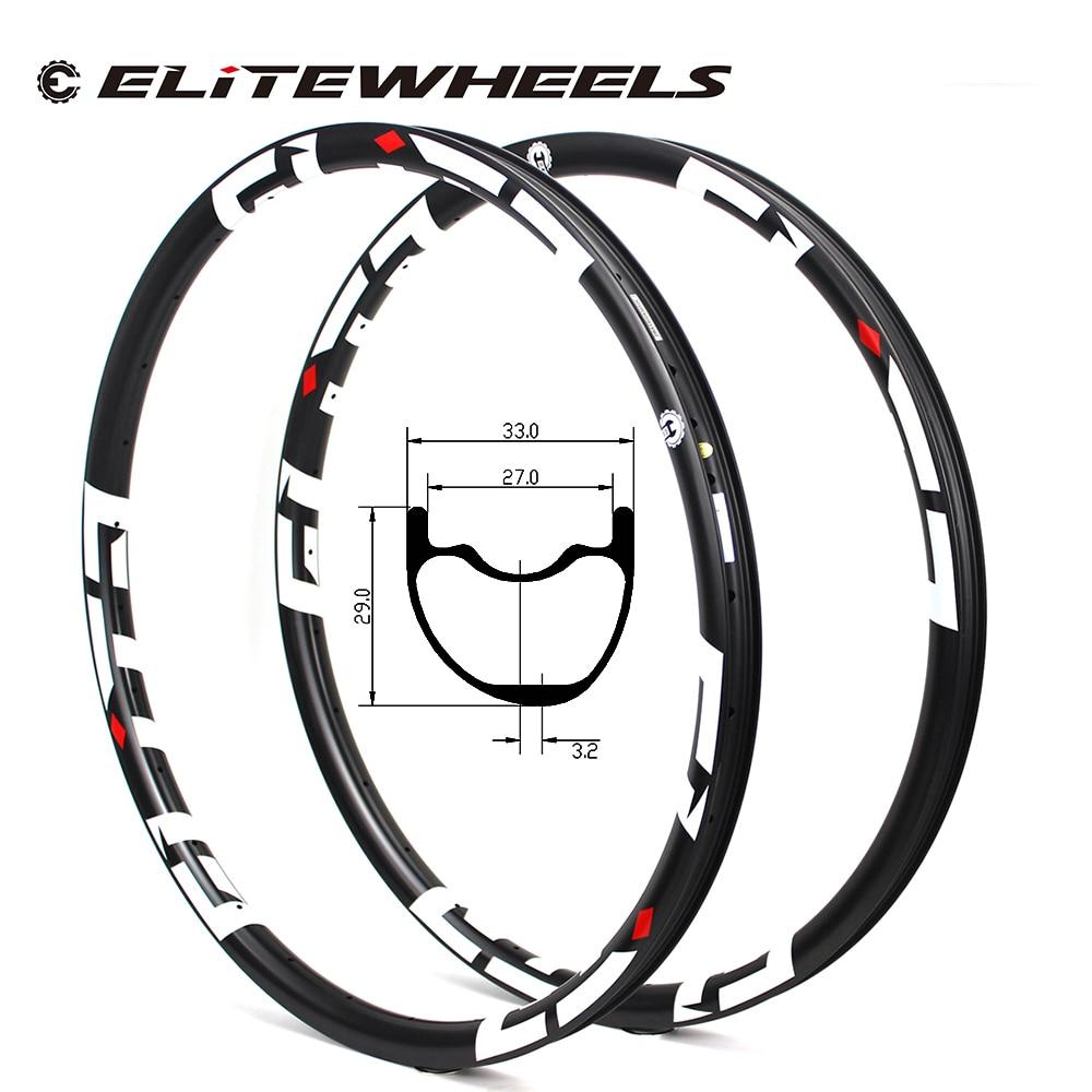 29er MTB الكربون حافة غير المتماثلة نوع جاهز لايحتاج 33 مللي متر * 29 مللي متر ل XC AM الجبلية الدراجة عجلة سوبر ضوء الوزن 350 جرام/القطعة